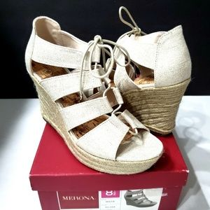 NWOT Merona Mazie Silver Wedge Lace Up Espadrilles